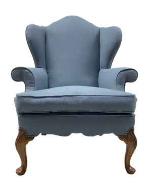 Queen Anne Style Wingback Armchair on Front Carved Walnut Cabriole Legs