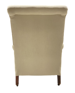 Square Back Armchair with Scrolled Arms Raised on Mahogany Cabriole Legs