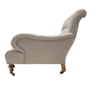 Long Armed Howard and Sons Style Armchair Raised on Turned Baluster Legs