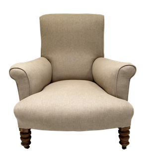 Scrollback Armchair Upholstered in Linen