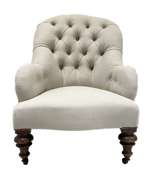 Deep Button Back Armchair on Turned Front Legs and Outswept Back Legs
