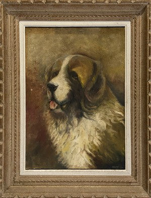 Oil on Board of a Saint Bernard Dog Signed Freeman and Dated