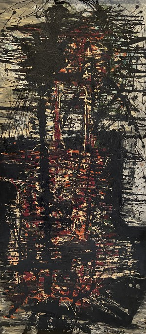 Large Oil on Canvas Abstract Drip Style Red, Black and Blue Composition Entitled Ascension