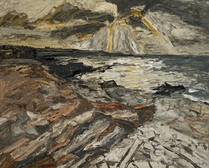 Oil on Board of Sun Breaking Through Clouds Over the Sea Signed Ian Scott and Dated