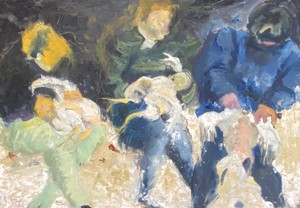 Oil on Board of Abstract Scene Entitled The Turkey Pluckers Inscribed Anni Fitzgerald