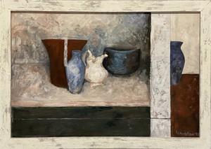 Contemporary Oil Composition Entitled Still Life With Italian Bottle