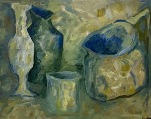 Contemporary Oil Composition Still Life Study of Vessels on a Table