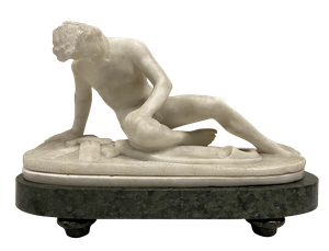 Carved Alabaster Figure of The Dying Gaul Mounted on an Oval Marble Base