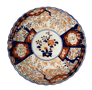Hand Decorated Meiji Period Imari Scollop Edged Plate with Central Circular Floral Scene