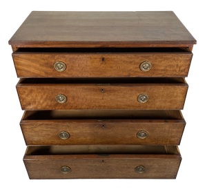 George III Mahogany Chest of Four Long Drawers on Bracket Feet