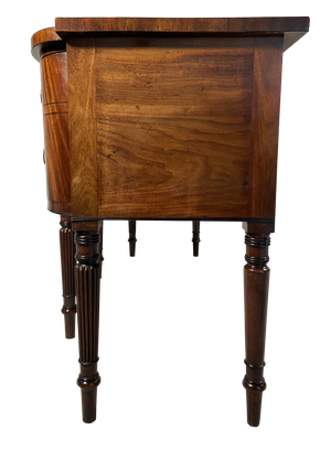 George III Bow and Breakfront Mahogany Sideboard with Inlaid Greek Key Design