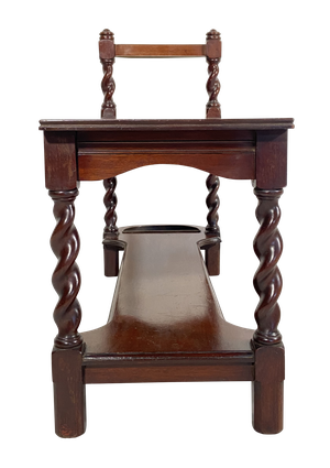 Two Tiered Mahogany Hall Stick Stand with Barley Twist Legs
