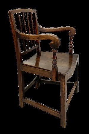 George III Elm Stickback Bow Seated Carver Chair with Wonderful Wear