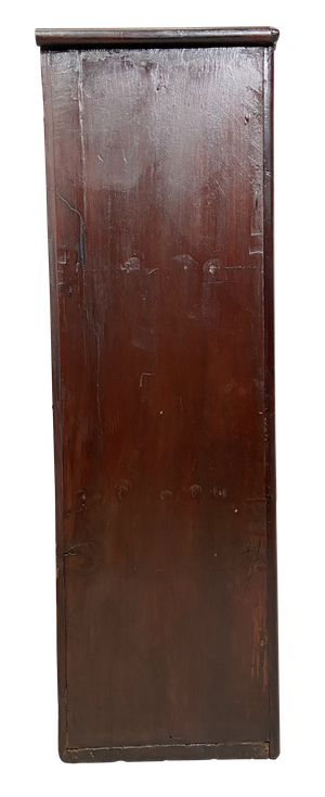 Glazed Mahogany Wall Cabinet with Faux Bamboo Door Decoration and Original Glass