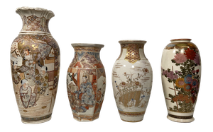 Collection of Four Hand Decorated Satsuma Vases