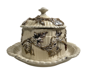 Fluted Stoneware Lidded Butter Dish with Scallop Edges and Silverleaf Overlay Decoration