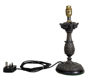 Grand Tour Bronze Baluster Column Candlestick Table Lamp with Acanthus Leaf Design