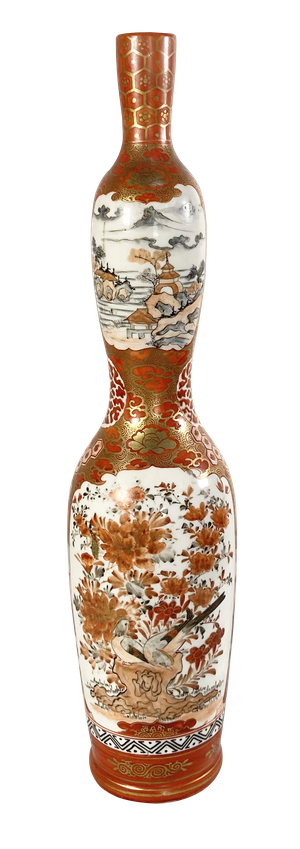 Meiji Period Satsuma Double Gourd Shaped Vase Hand Decorated on Panels with Imperial Figures