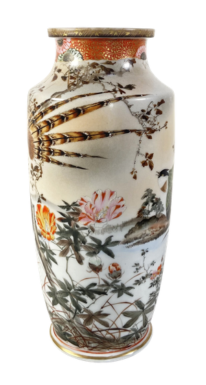 Meiji Period Kutani Vase Decorated with Geese and other Water Birds
