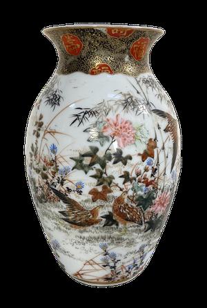 Meiji Period Kutani Vase Decorated with Water Birds