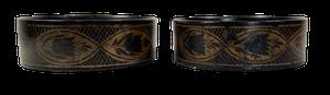 Pair of Regency Hand Decorated Papier Mache Wine Bottle Coasters