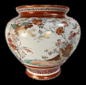 Meiji Period Kutani Kacho Decorated Vase