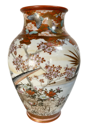 Meiji Period Kutani Vase Decorated with Geese and other Birds