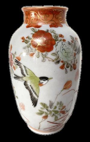 Meiji Period Kutani Vase Decorated with Birds in Flight