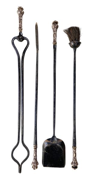 Wrought Iron Fireside Companion Set with Cast Brass Handles