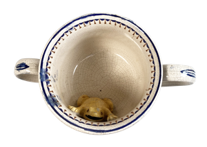 George III Staffordshire Pottery Cider Cup with Frog Inscribed to Peter Bates