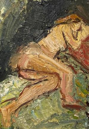 Oil on Board of Reclining Nude