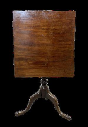 George III Bird Cage Mahogany Square Tilt Top Tripod Table
