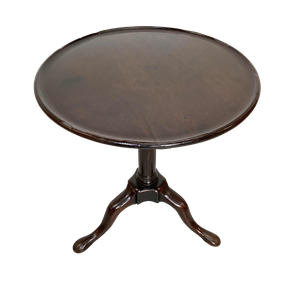Mahogany Pedestal Tripod Table with Round Dish Top
