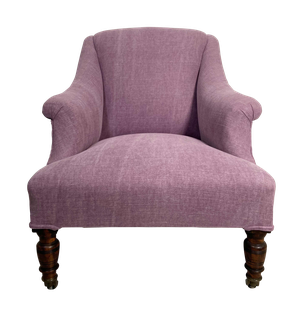 Square Back Armchair on Turned Mahogany Legs