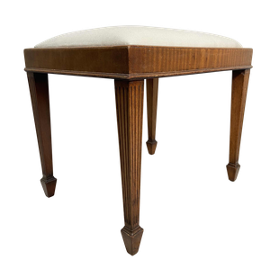 Edwardian Upholstered Stool on Reeded Square Tapering Legs
