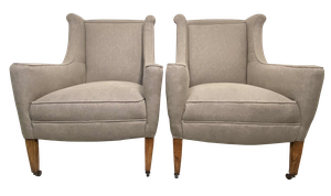 Pair of Winged Armchairs on Square Tapering Legs