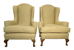Pair of Humped Wingback Armchairs on Cabriole Legs
