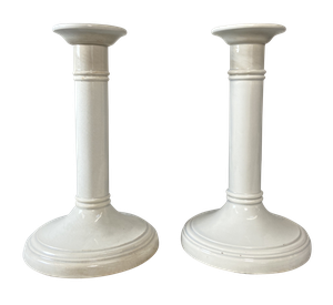 Pair of White Ironstone Candlesticks