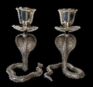 Pair of Plated Cobra Candlesticks