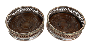 Pair of Silver Plated Bottle Coasters with Turned Wooden Bases