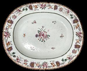 Chinese Export Oval Tin Glazed Platter