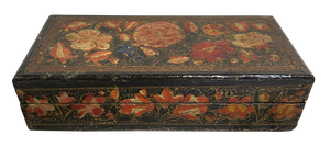 Lacquered Papier Mache Stamp Box with Hinged Lid