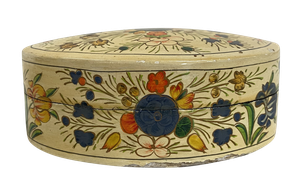 Lacquered Papier Mache Oval Box with Lid