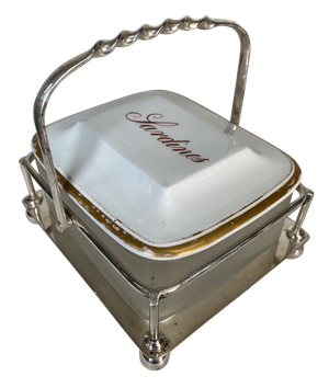 Silver Plated Sardine Dish with Glass Liner and Porcelain Lid
