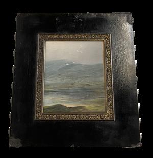 Miniature Oil on Card of a Lake Scene in Ebonised Frame