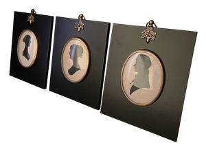 Three Victorian Silhouettes in Later Frames
