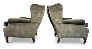 English, c.1870, pair of Victorian studded velvet upholstered wingback armchairs raised on round turned front legs and outswept square back legs.  Visit our website for full details, link in bio.  #antiqueinteriors #interiordesign #interiordecoration #interiordecorator #Uplands #antiquesdealersofinstagram #interiorstyling #interiorinspiration #antiques #antiquesaregreen #Herefordshire #interiordecorating #antiquesforsale #interiors #antiquedecor #antiquesandcollectables #Wellingtonheath #Ledbury