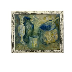 English, dated 1999, contemporary oil, composition still life study of vessels on a table.  Visit our website for full details, link in bio.  #antiquesaregreen #antiquesdealersofinstagram #antiquesforsale #antiquesandcollectables #antiqueinteriors #antiquedecor #antiquesforsale #antiques #interiordecorating #interiors #interiordesign #interiordecorator #interiorstyling #interiordecoration #interiorinspiration #Uplands #Ledbury #Wellingtonheath #Herefordshire