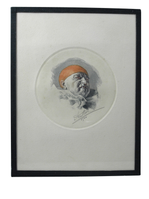 Coloured Lithograph of Clown