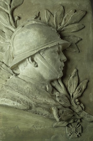 Large Plaster Plaque of Soldier